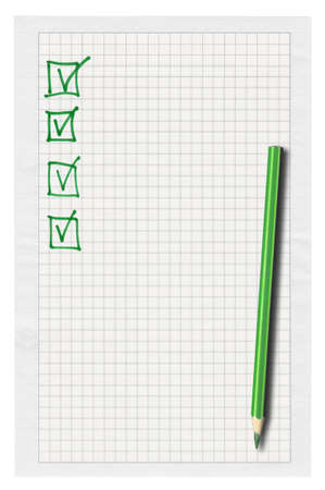 thumbtacked: piece of squared paper with completed checklist over white background