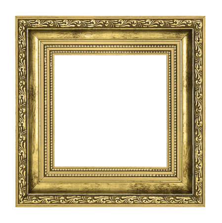 golden frame with thick border isolated on white background
