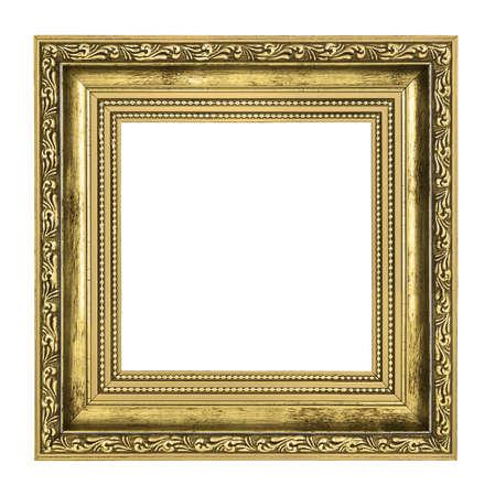 goldener Rahmen mit dicken Grenze auf weißem Hintergrund isoliert Lizenzfreie Bilder