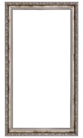 marcos decorados: marco de madera muy largo aislado en el fondo blanco
