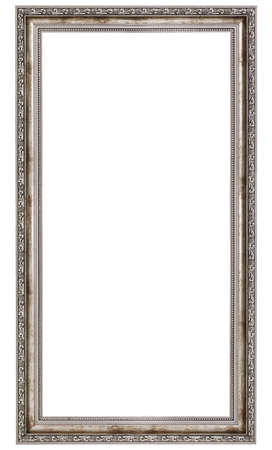 silver frame: very long wooden frame isolated on white background