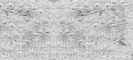 Texture of long white brick wall