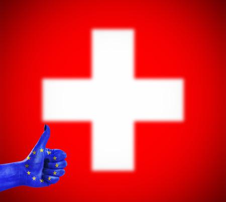 Conceptenfoto - positieve houding van de Europese Unie voor Zwitserland Stockfoto
