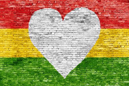 Liefde voor reggae muziek liefdevolle overschilderd witte bakstenen muur