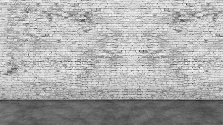 Textuur van lange lege witte bakstenen muur en de voorgrond Stockfoto