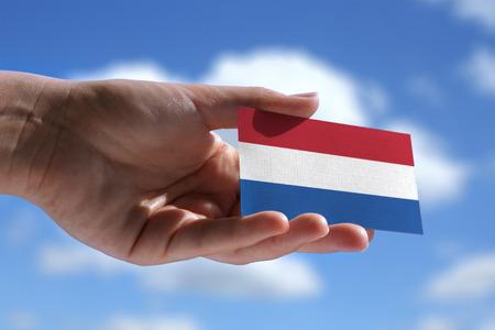 Kleine Nederlandse vlag tegen mooie landschap Stockfoto