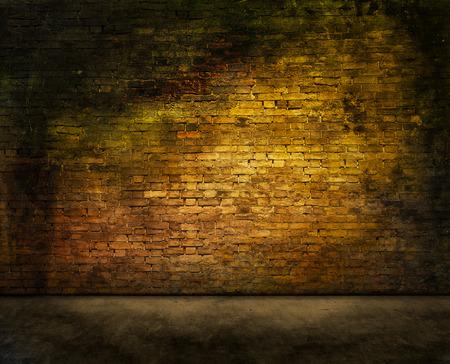 kleurrijke donkere bakstenen muur textuur met voorgrond