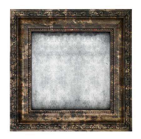 Geruïneerd houten frame geïsoleerd op een witte achtergrond