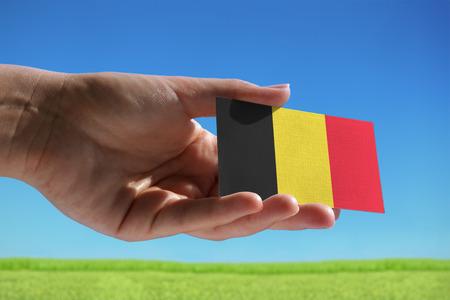 Kleine Belgische vlag tegen prachtige landschap Stockfoto