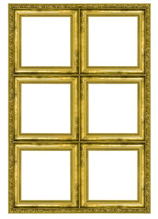 Giant gouden frame met zes kwadraten op een witte achtergrond Stockfoto