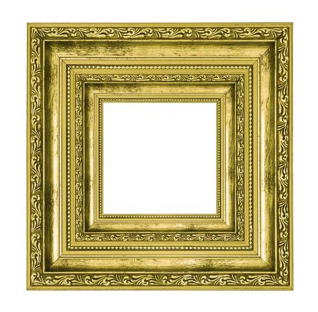 rijkelijk versierd gouden vierkant frame op een witte achtergrond Stockfoto