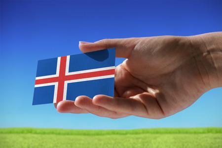 Kleine vlag van IJsland tegen mooie landschap met gras
