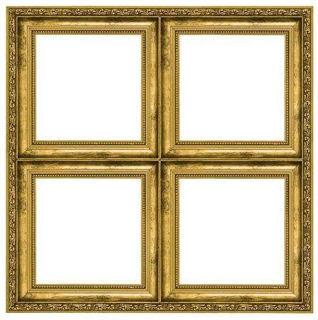 Gouden viervoudige frame geïsoleerd op zuivere witte achtergrond Stockfoto
