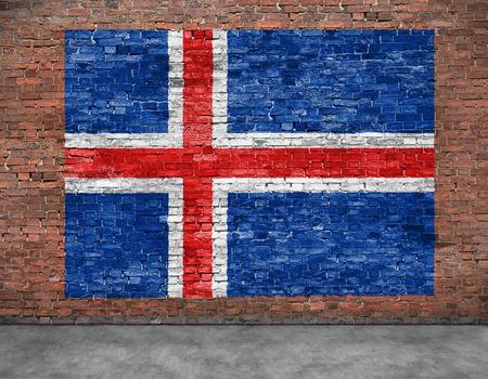 Vlag van IJsland en een deel van de voorgrond