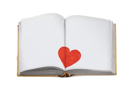 kopiëren ruimte voor de liefde bericht in een open boek geïsoleerd op wit Stockfoto