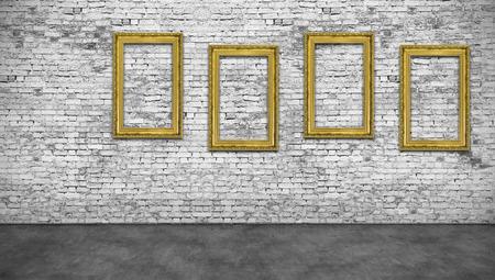 Vier verticale gouden frames op een witte bakstenen muur Stockfoto - 48325456