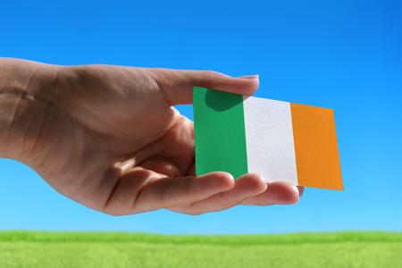Kleine vlag van Ierland tegen mooie landschap met gras Stockfoto - 48668513