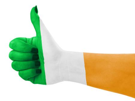 Vlag van Ierland op een vrouwelijke hand