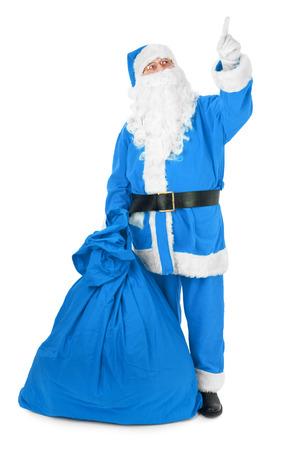 Blue Santa wijst zijn vinger op een onzichtbaar object