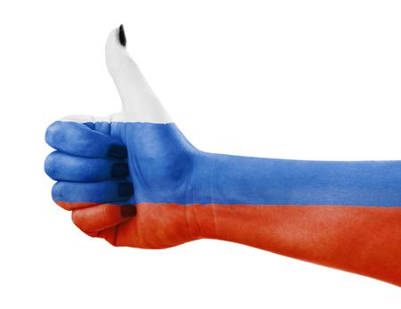 Vlag van Rusland op vrouwelijke hand