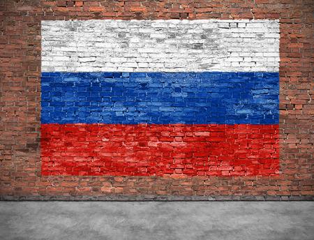 Vlag van Russsia op bakstenen muur met een klein deel van de voorgrond