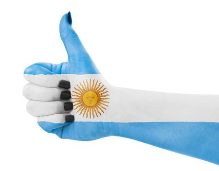 Vlag van Argentinië op de vrouwelijke hand