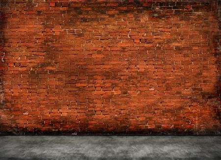 rode oude bakstenen muur met voorgrond