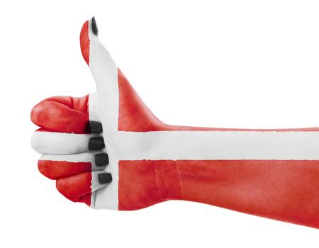 Vlag van Denemarken op vrouwelijke hand