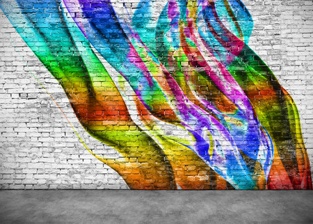 abstract colorful graffiti on white brick wall Banco de Imagens