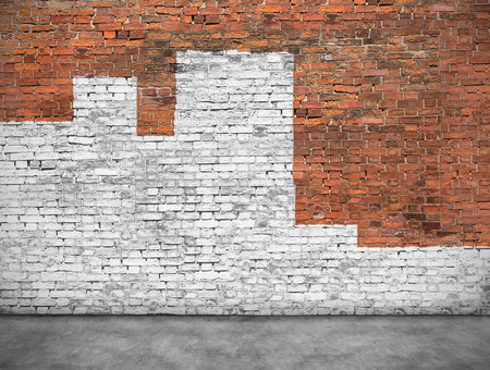 Old brick wall painted with white paint Imagens