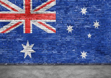 Australische vlag over oude bakstenen muur