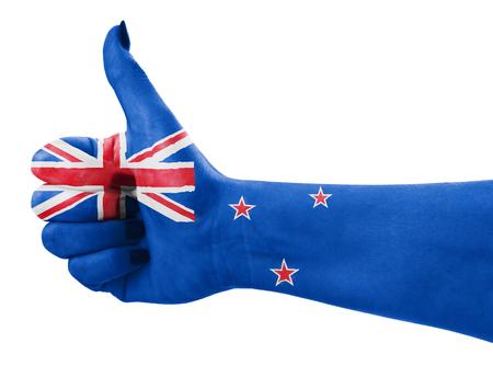 Vlag van Nieuw-Zeland bij de hand op wit wordt geïsoleerd Stockfoto - 50650751