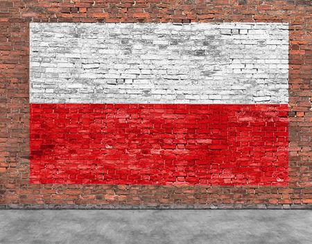 Poolse vlag geschilderd op oude bakstenen muur