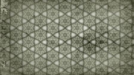 Olive Green Vintage Decorative Floral Pattern Wallpaper Design