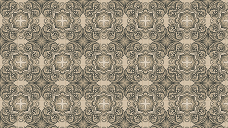 Brown Vintage Decorative Floral Ornament Wallpaper Pattern Image Stock Photo