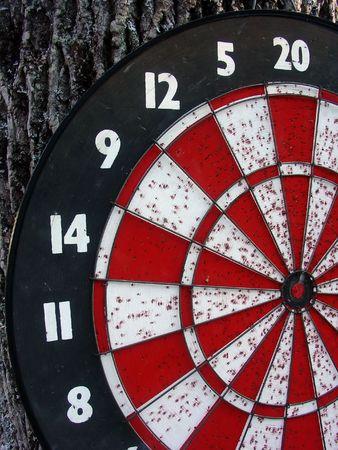 a well used dart board