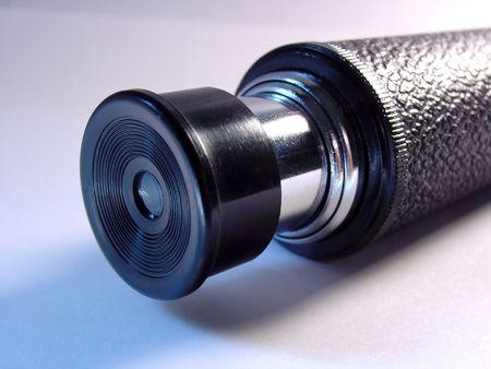 eyepiece: the eyepiece on a small telescope Stock Photo