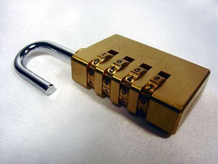combination: an opened combination lock Stock Photo