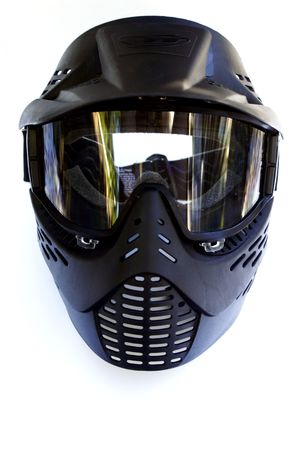 protective goggles: an isolated black mask used for paintball protection Stock Photo