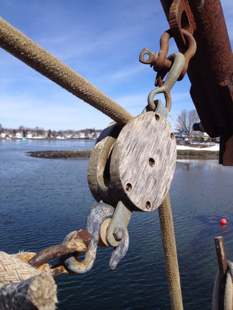 pulley: Wood rigging pulley with rope