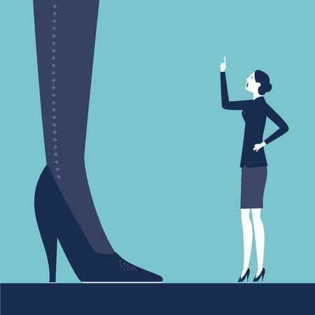 bulling: Vector mujer regañando a su jefe