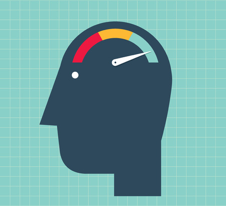 Head with a speed counter as brain. Increase your brain?s processing speed. Illustration