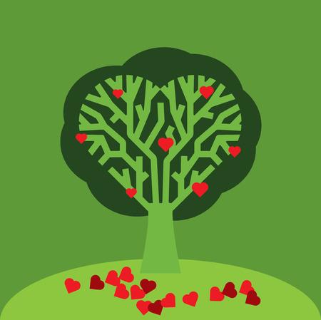 corazones: Love Tree Illustration