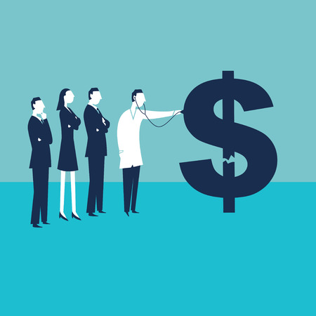 doctor giving dollars: Sick Dollar Illustration