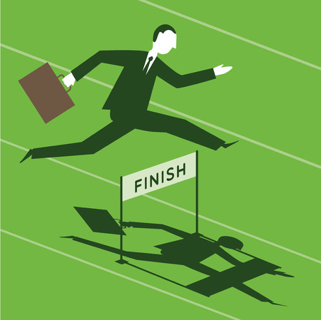 obstacle course: Businessman passing over obstacles Illustration