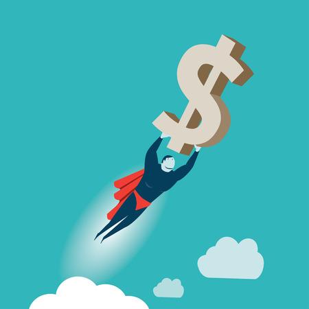 flying money: Superhero Illustration