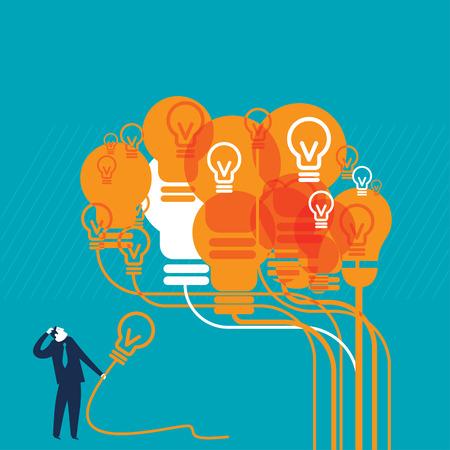 Oranje Lightbulb Brain Stock Illustratie