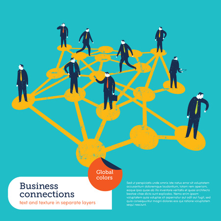 Business connections. Global colors. Text and Texture in separate layers.