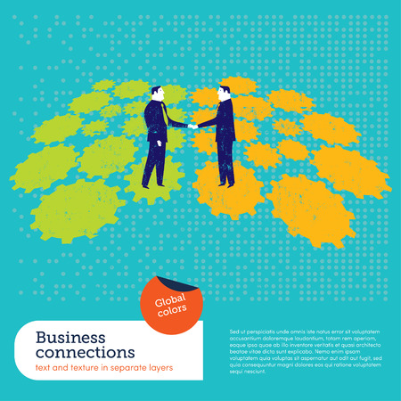 Businessmen shaking hands on a gear background.  Global colors. Text and Texture in separate layers. Vector