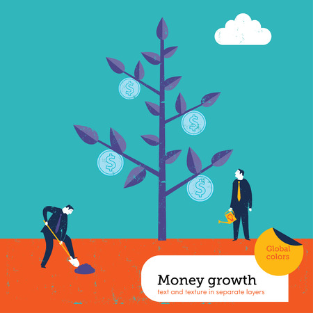 Money growing on a tree.  Global colors. Text and Texture in separate layers. Vector